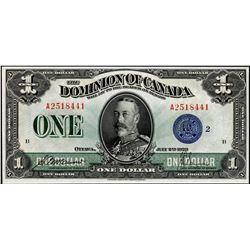 Dominion of Canada DC-25h 1923 $1 GEM UNC RAW