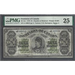 Domnion of Canada DC-8e-i 1878 $1 VF25 PMG