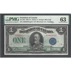 Dominion of Canada DC-25h 1923 $1 CHUNC63 PMG ALMOST SOLID SERIAL NO