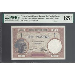 French Indo-China Pick 48a 1921-26 1 Piastre GEM65EPQ PMG FINEST KNOWN