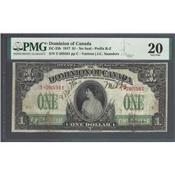 Dominion of Canada DC-23b 1917 $1 VF20 PMG