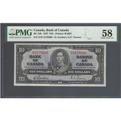 Bank of Canada BC-24b 1937 $10 AU58 PMG