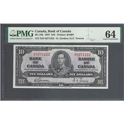 Bank of Canada BC-24b 1937 $10 CHUNC64 PMG