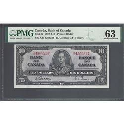 Bank of Canada BC-24b 1937 $10 CHUNC63 PMG