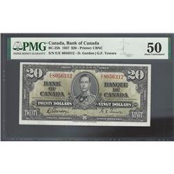 Bank of Canada BC-25b 1937 $20 AU50 PMG