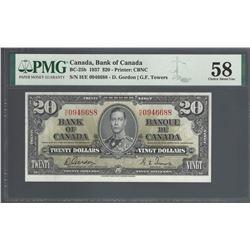 Bank of Canada BC-25b 1937 $20 H/E prefix AU58 PMG
