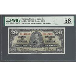 Bank of Canada BC-25b 1937 $20 AU58 PMG