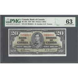 Bank of Canada BC-25b 1937 $20 CHUNC63 PMG