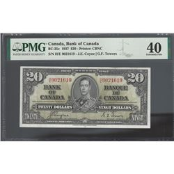 Bank of Canada BC-25c 1937 $20 H/E prefix EF40 PMG