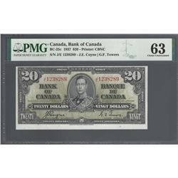 Bank of Canada BC-25c 1937 $20 CHUNC63 PMG
