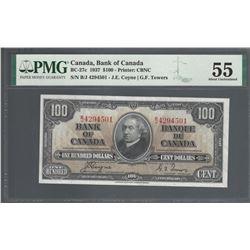 Bank of Canada BC-27c 1937 $100 AU55 (tear) PMG