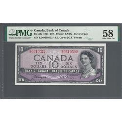 Bank of Canada BC-32a 1954 $10 Devil's Face E/D prefix AU55 PMG