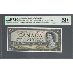 Bank of Canada BC-33b 1954 $20 Devil's Face AU50 PMG