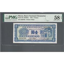 Macau Pick 28 1945 1 Pataca AU58 EPQ PMG