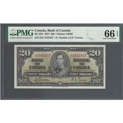 Bank of Canada BC-25b 1937 $20 GEM66EPQ PMG