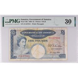 Jamaica Pick 48b 1960 5 Pounds  VF30 (stains) PMG