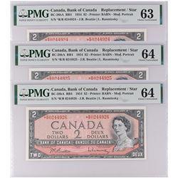 3 Consecutive Bank of Canada BC-38bA 1954 $2 *R/R replacement CHUNC63-64 PMG