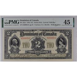 Dominion of Canada DC-22a-i 1914 $2 EF45 PMG