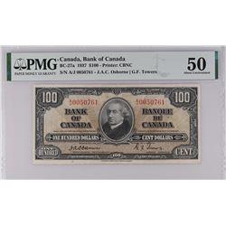 Bank of Canada BC-27a 1937 $100 Osborne AU50 PMG