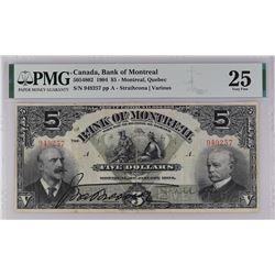 Bank of Montreal 505-48-02 1904 $5 VF25 PMG