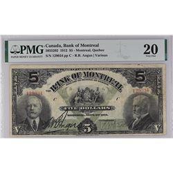 Bank of Montreal 505-52-02 1912 $5 VF20 PMG