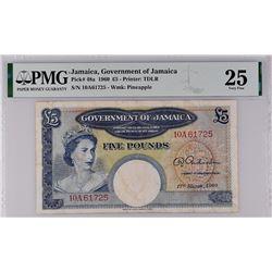 Jamaica Pick 48a 1960 5 Pounds VF25 PMG