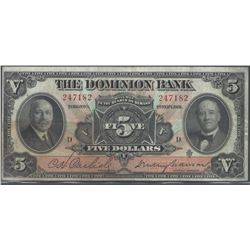 Dominion Bank 220-24-04 1931 $5 VF+ RAW