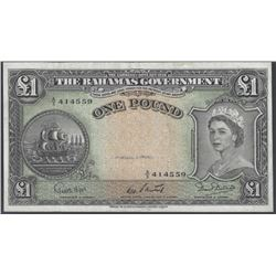 Bahamas Pick 15b 1953 1 Pound EF/AU RAW