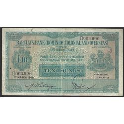 Jamaica Barclays Bank 1940 10 Pounds VF30 RAW