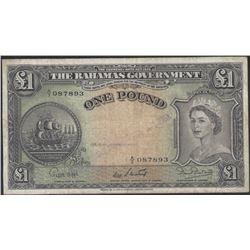 Bahamas Pick 15b 1953 1 Pound VF/EF