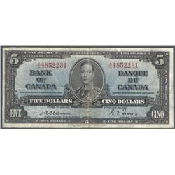 Bank of Canada BC-23a 1937 $5 Osborne VF+ RAW