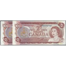 TWO CONSECUTIVE Bank of Canada 1974 $2 *RA replacements EF/AU RAW