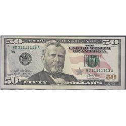 USA 2013 $50 2 digit radar GEM