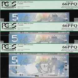 set of 3 consecutive Bank of Canada BC-67a 2006 $5 ERROR GEM66PPQ
