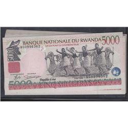 20 Consecutive Rwanda 1998 5000 francs GEM