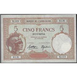 French Indo China NOUMEA overprint 5 Francs AU+