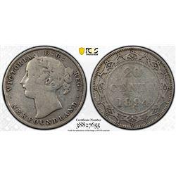 Newfoundland 1894 20 cents F details PCGS
