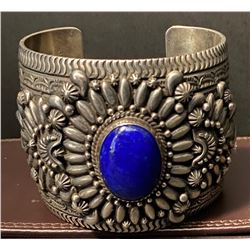 Silver and Lapis Cuff Bracelet by Daryl Becenti, Navajo Artist