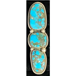 Dramatic 3 stone long Turquoise ring by Rick Martinez, Navajo Artist