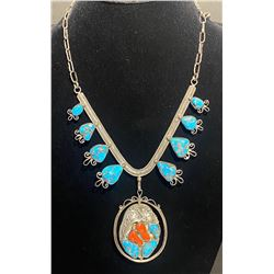 Morenci and Coral One of a Kind reversible pendant from 1950's
