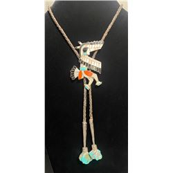 Eagle Dancer 1960's Bolo Tie with Turquoise Nugget Tips  Zuni unknown artist