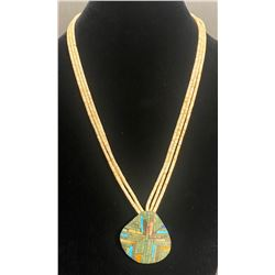 Angie Reano, Kewa Mosaic overlay on shell pendant with 3 strand Heishi Necklace