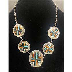 Five Pendant Necklace with matching earrings by Joe and Angie Reano, Kewa Artists