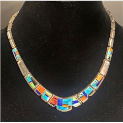 Inlay Necklace and earring set by GL Miller, Albuquerque, NM  American Artist Hallmark GL Studios
