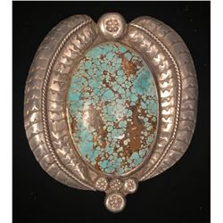 Number 8 Turquoise and Silver Old Style Belt Buckle
