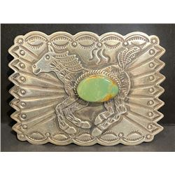 Albert & Jacqueline Cleveland, Navajo Artist Silver and Cerrillos Turquoise Belt Buckle Hallmark AJC
