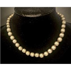 """Vintage Navajo Silver Pearl Necklace 16"""""""