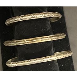 3 Vintage Coin Silver bracelets with stamp work 1930's