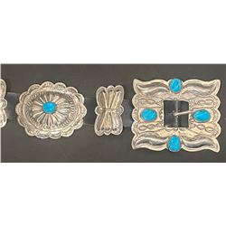 Traditional Concho Belt with Turquoise by Ben Yazzie, Navajo Artist