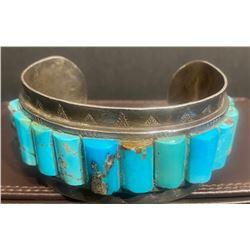 Turquoise Slab inlay Cuff Bracelet Hallmarked Silver Wolf GG or CC